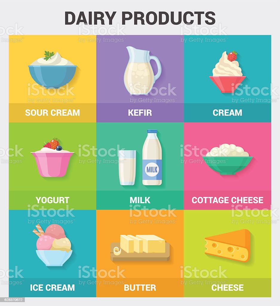 Dairy products icons collection. vector art illustration