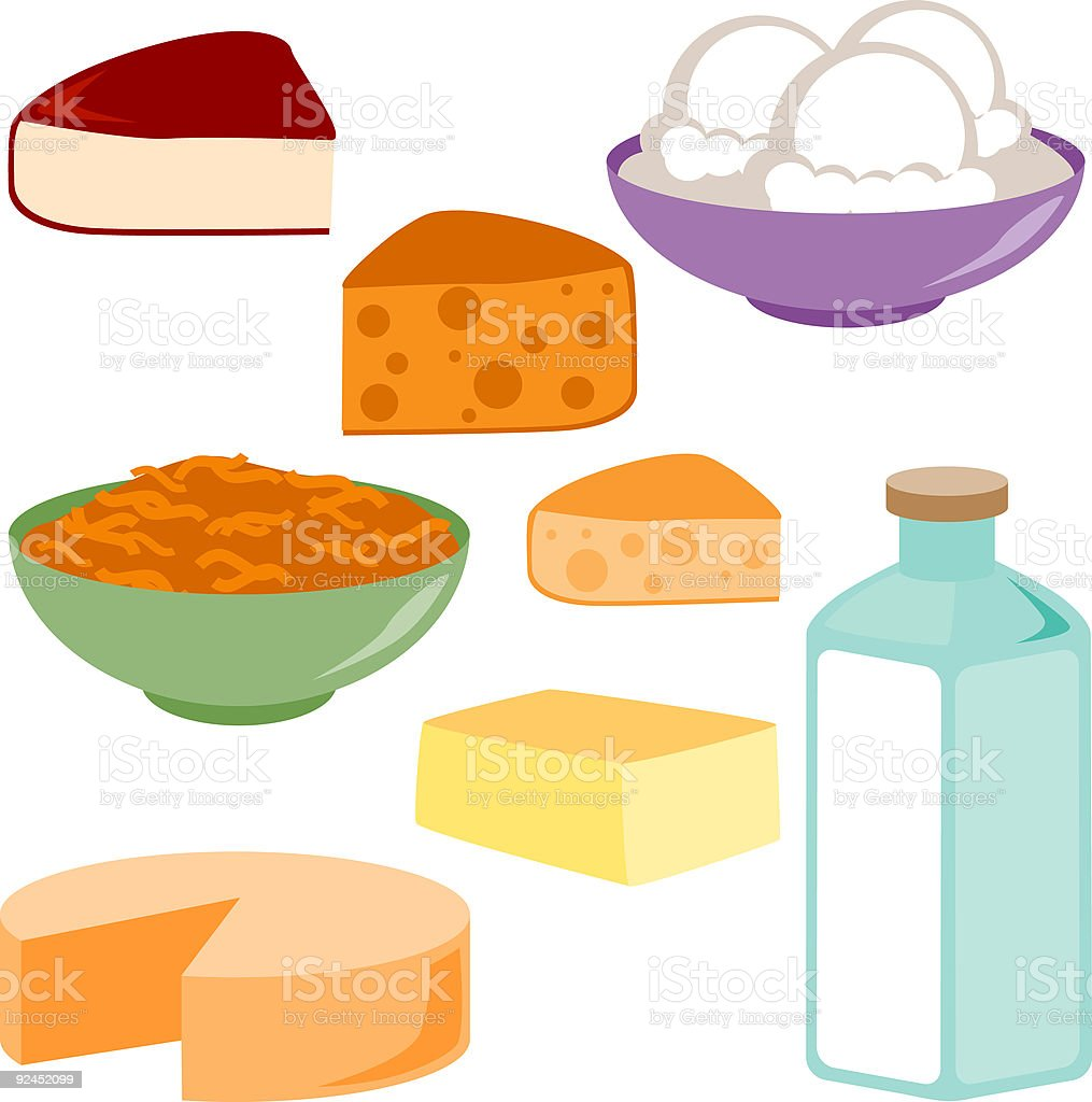 Dairy Products Icons vector art illustration