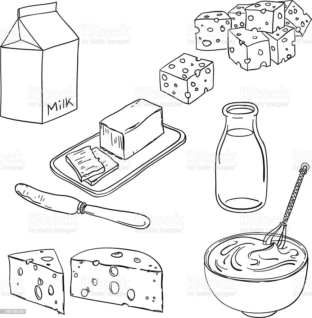 Dairy products in black and white royalty-free stock vector art