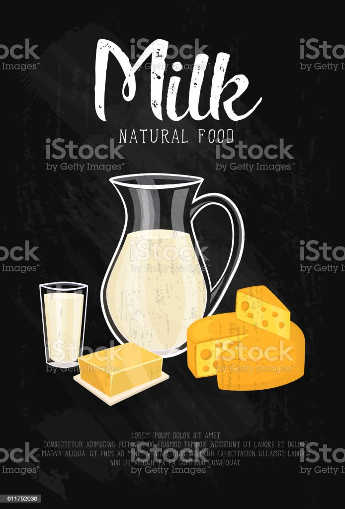 Dairy products isolated on black background vector art illustration