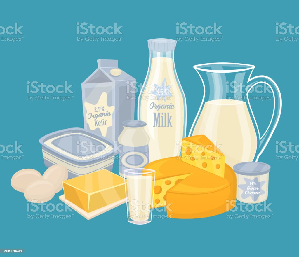 Dairy products isolated, vector illustration vector art illustration