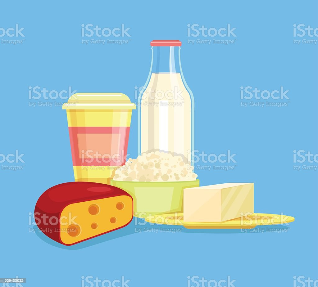 Dairy products. Milk products. Farm products vector art illustration