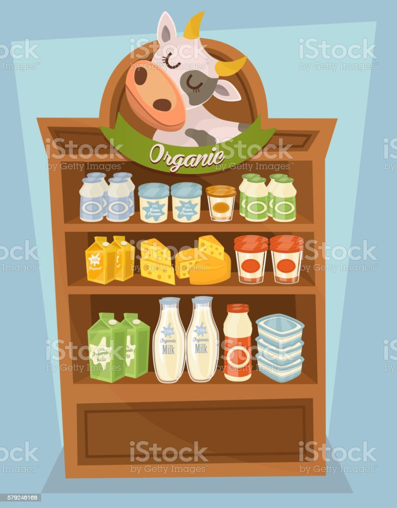 Dairy products on wooden table vector art illustration