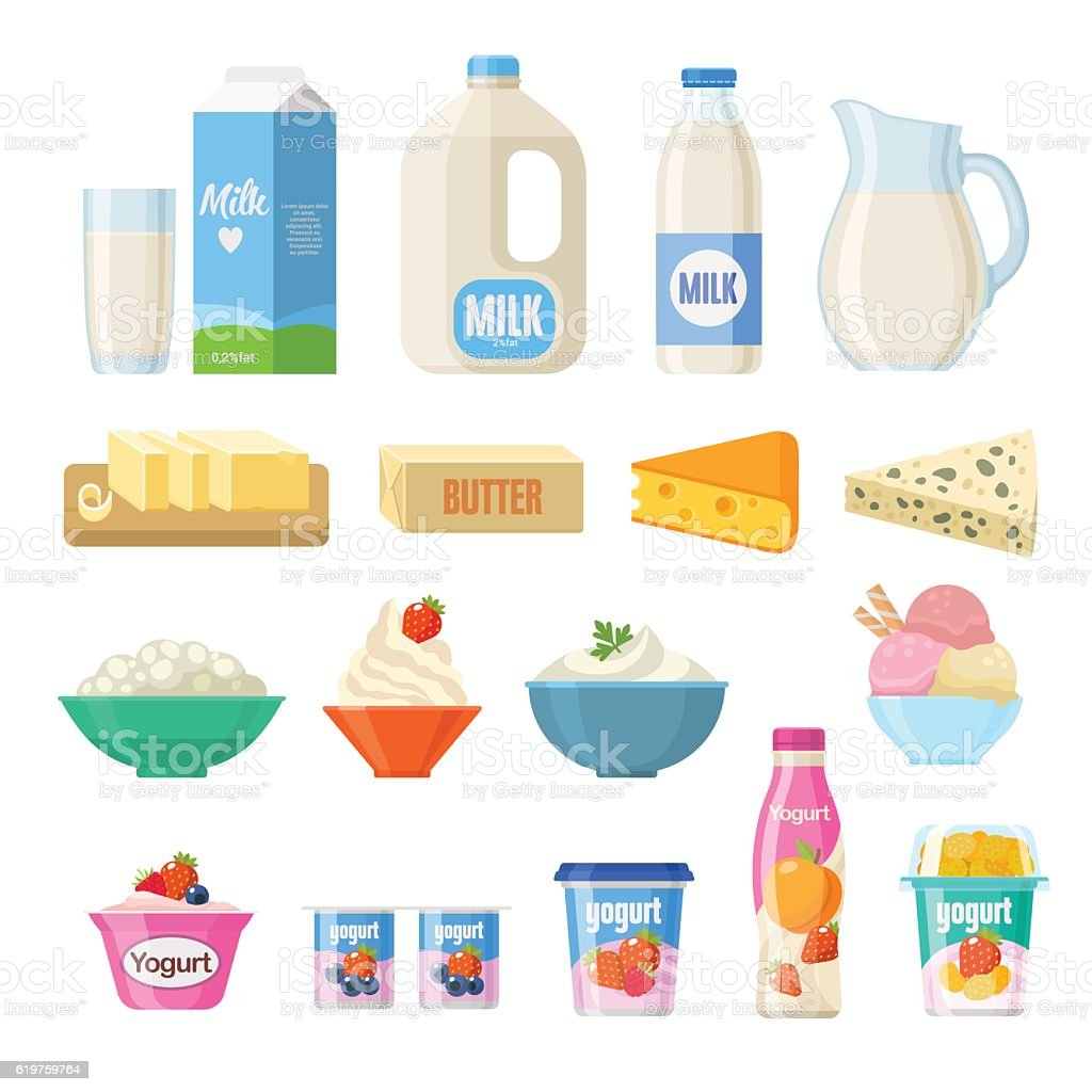 Dairy Products stock vector art 619759764 | iStock