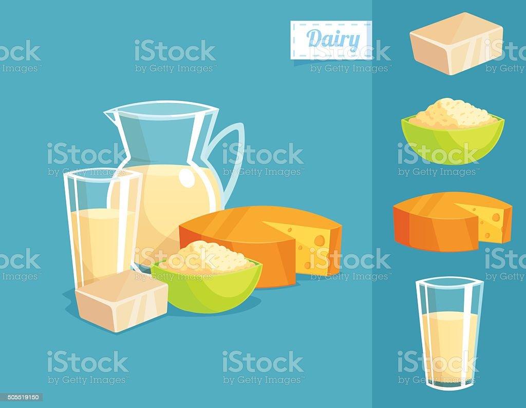 Dairy Products - Vector Illustration vector art illustration