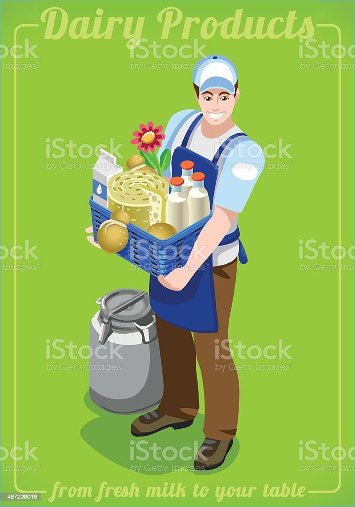 Dairy Services People Isometric vector art illustration