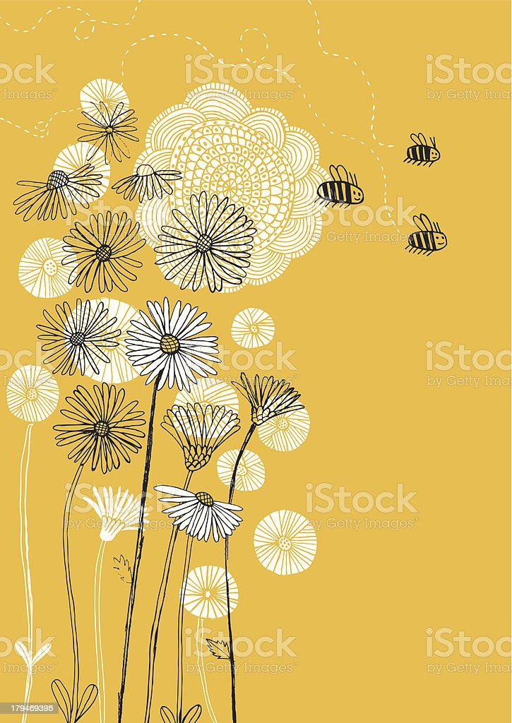 Daisies, sunflower and bees on sunny background vector art illustration