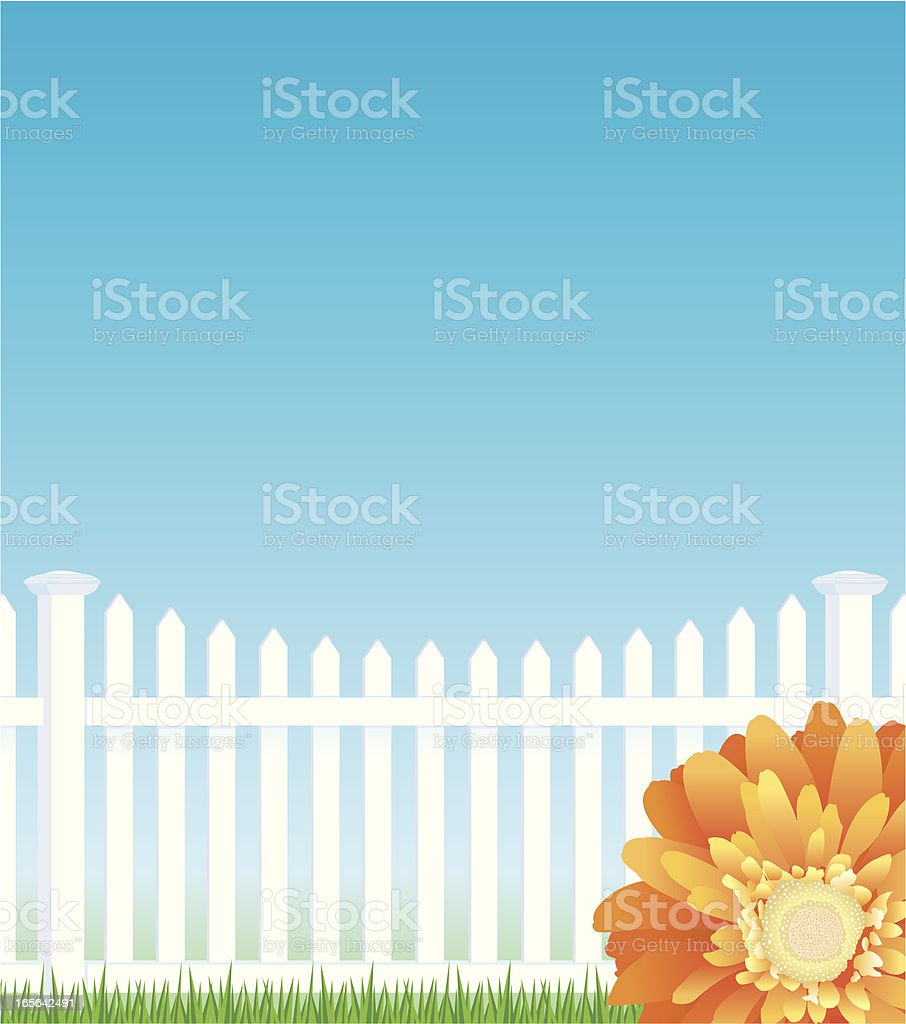 Daisy Flower with Fence Background royalty-free stock vector art