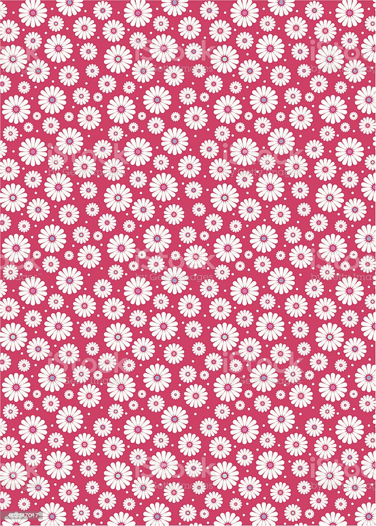 Daisy Polka Dot Floral Repeat Pattern vector art illustration