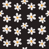 Daisy seamless vector  pattern background.