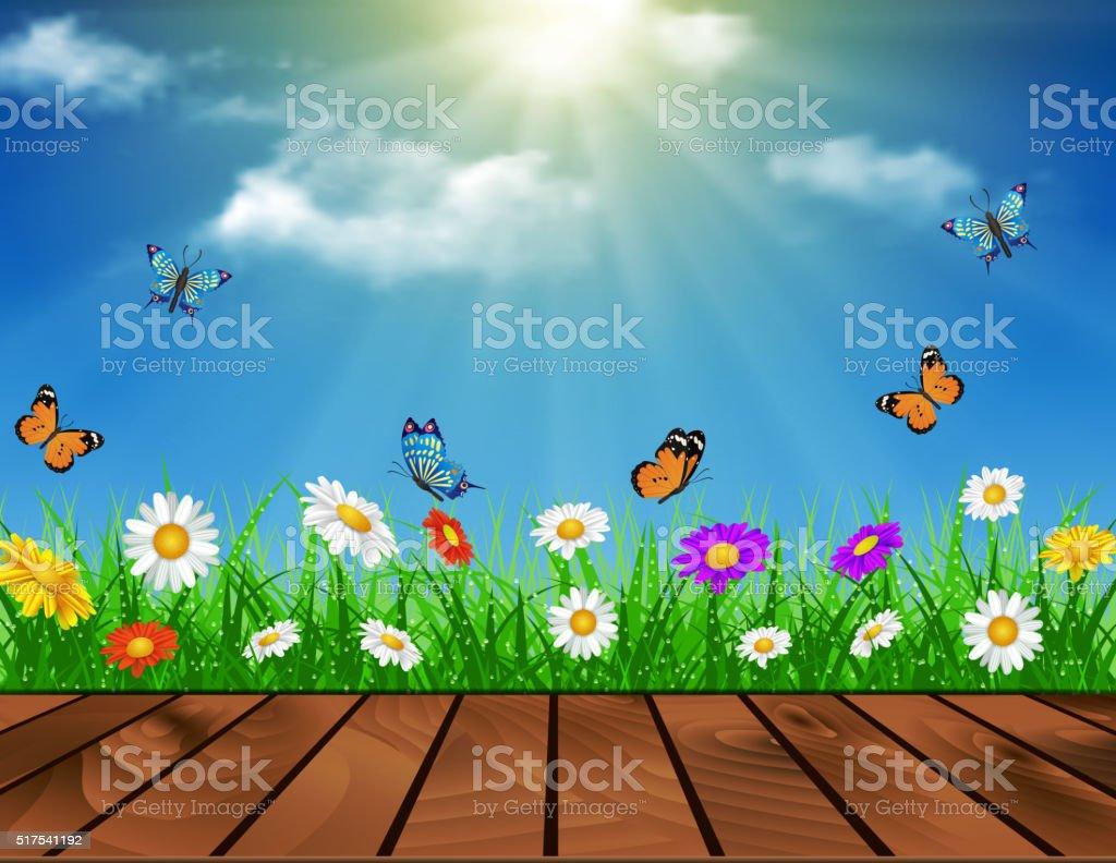 daisy vector background summer design vector art illustration