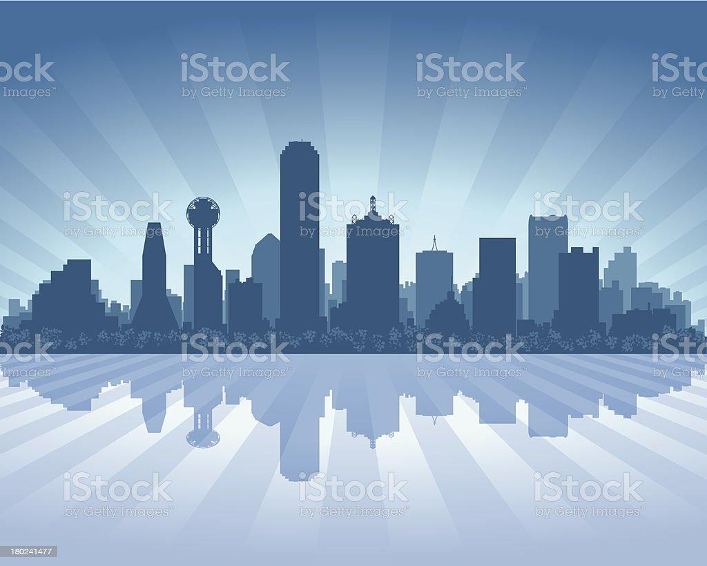 Dallas Blue City skyline silhouette vector art illustration
