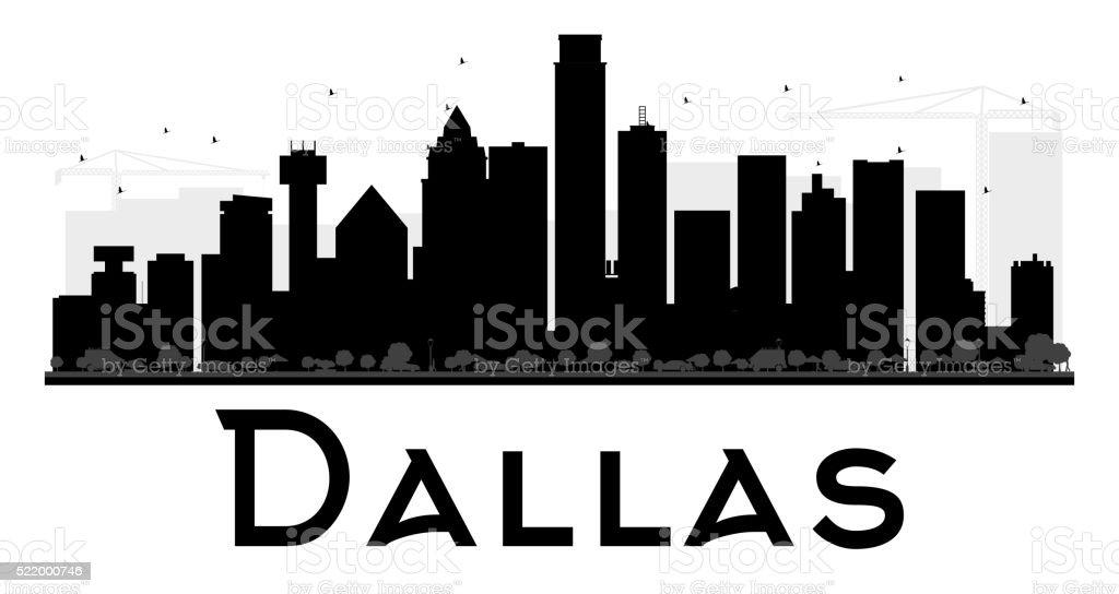 Dallas City skyline black and white silhouette. vector art illustration