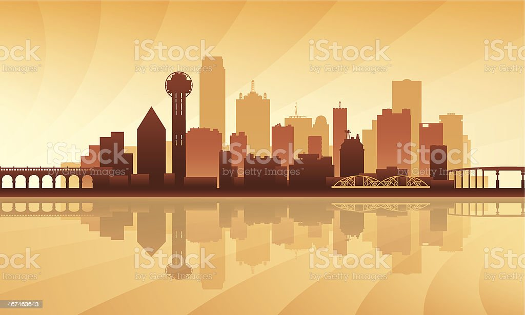 dallas city skyline detailed silhouette stock vector art 467463643