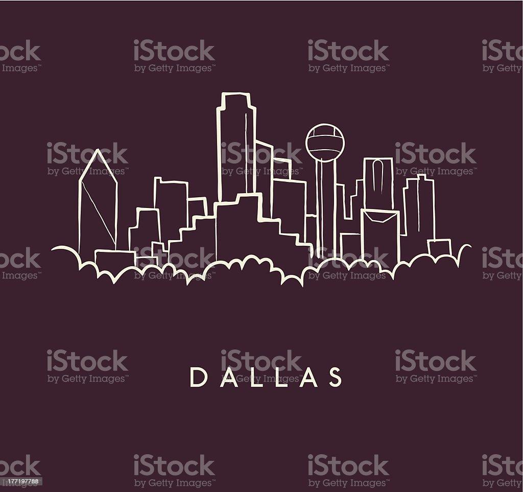 Dallas Skyline Sketch vector art illustration