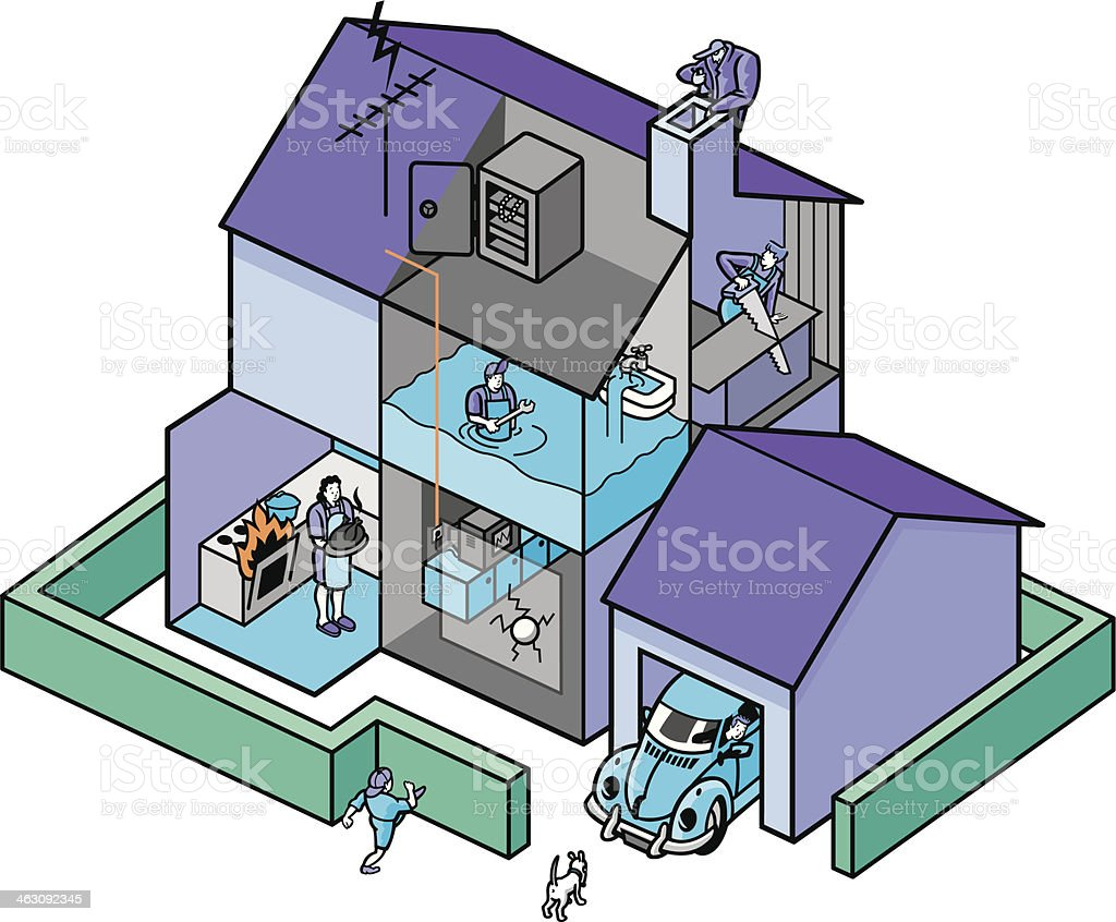 damage in and outside the house vector art illustration