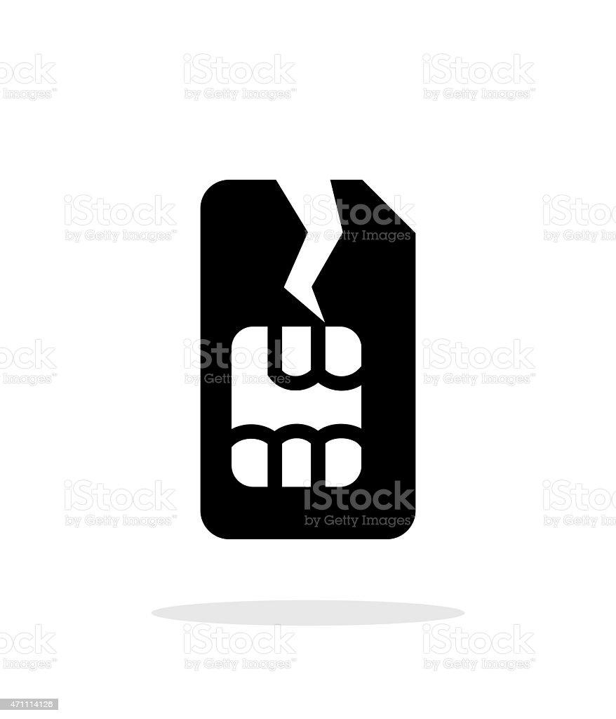 Damage SIM card simple icon on white background vector art illustration