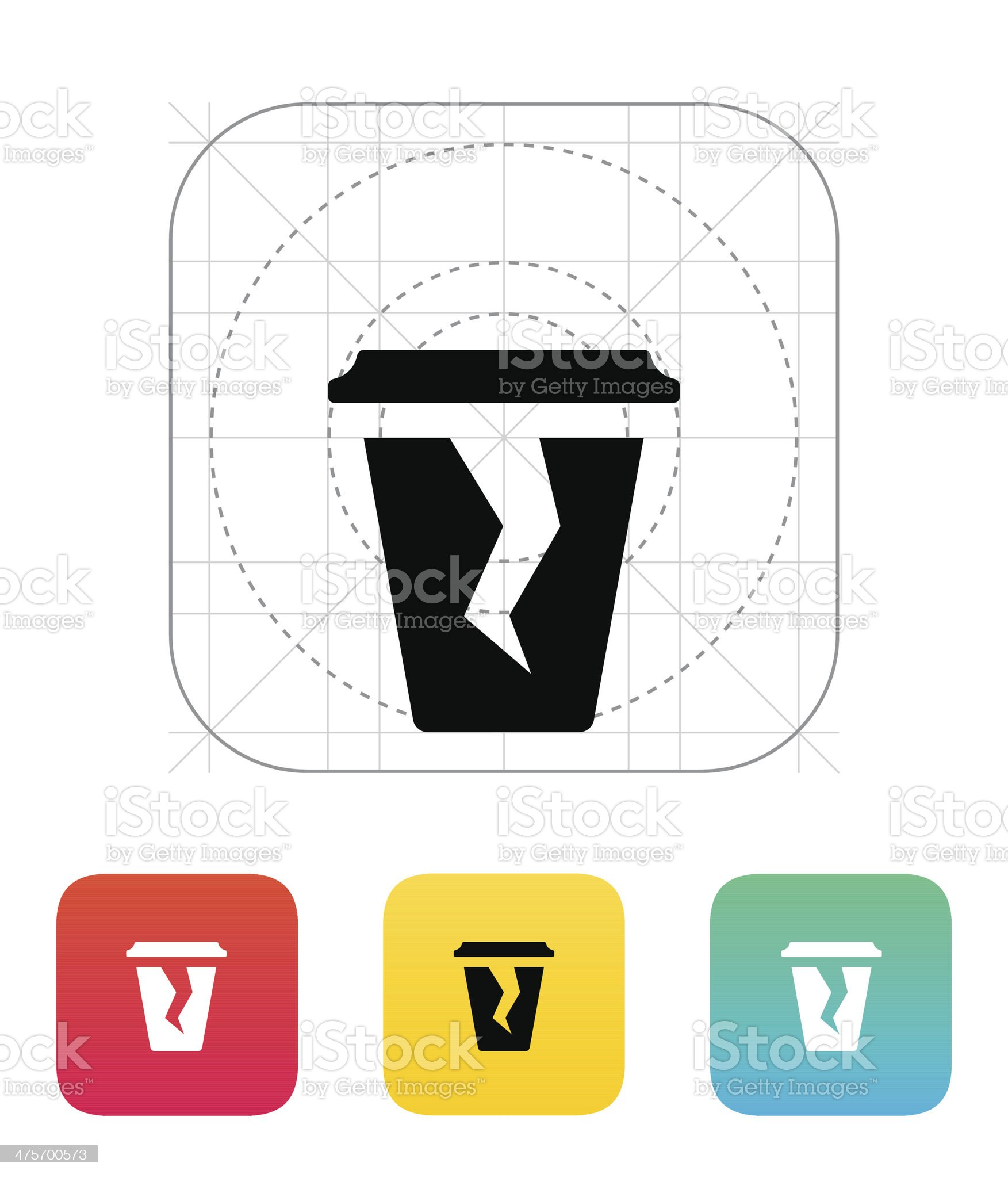 Damaged cup icon. royalty-free stock vector art