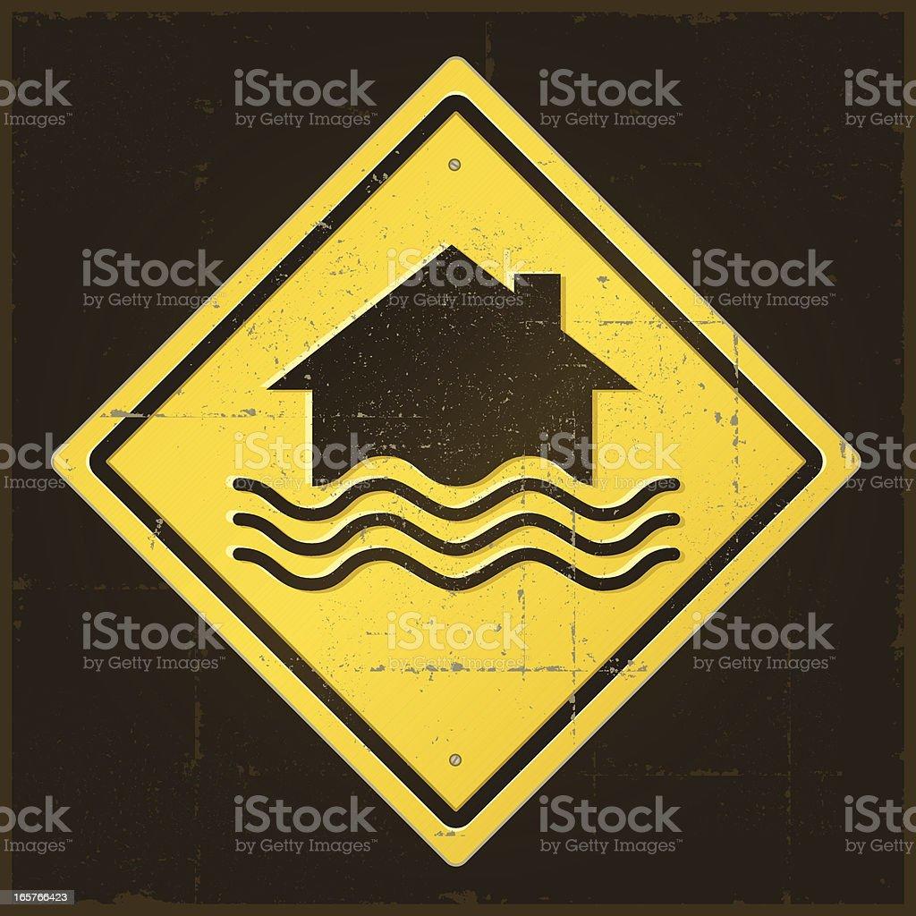 Damaged Flood Warning Sign royalty-free stock vector art