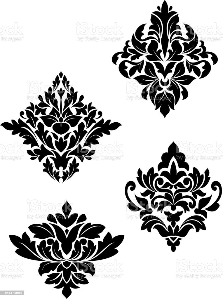 Damask flower patterns vector art illustration