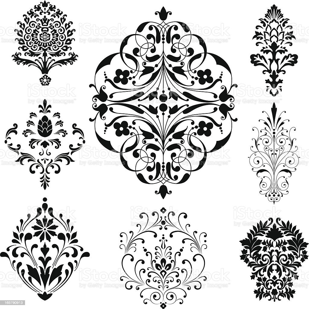 Damask Ornaments vector art illustration