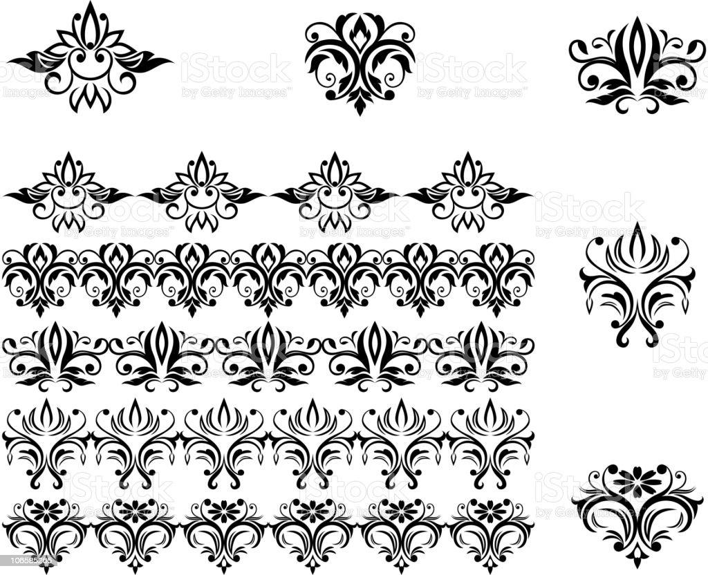 Damask patterns for design royalty-free stock vector art
