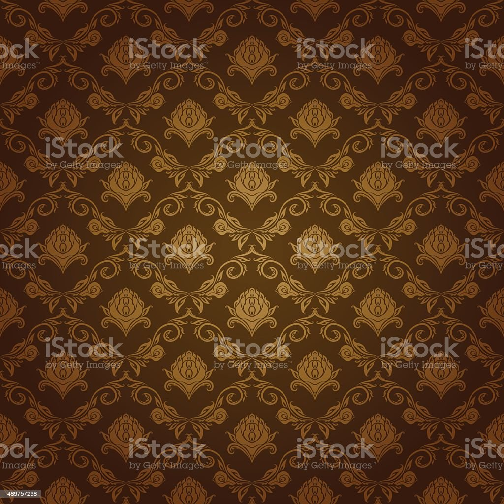 Damask seamless floral pattern vector art illustration