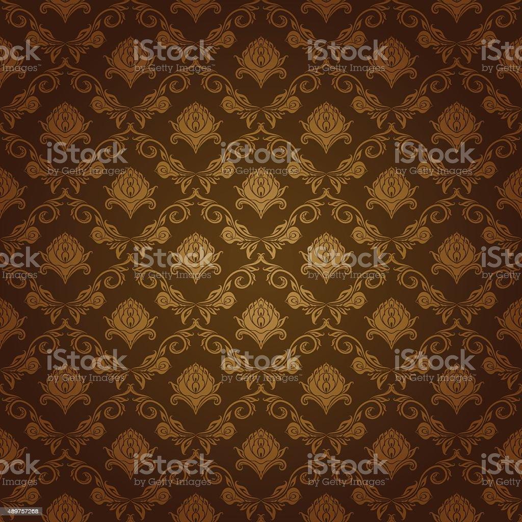 Damask seamless floral pattern vector art illustration