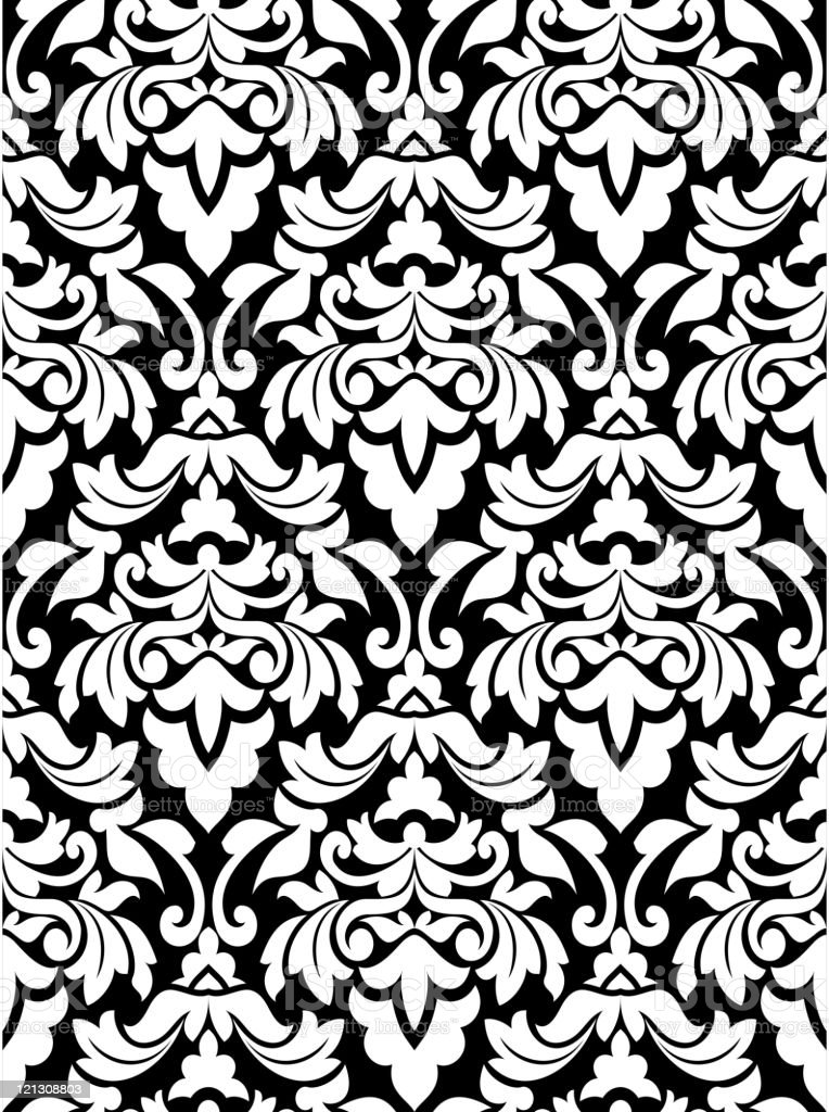 Damask seamless pattern vector art illustration