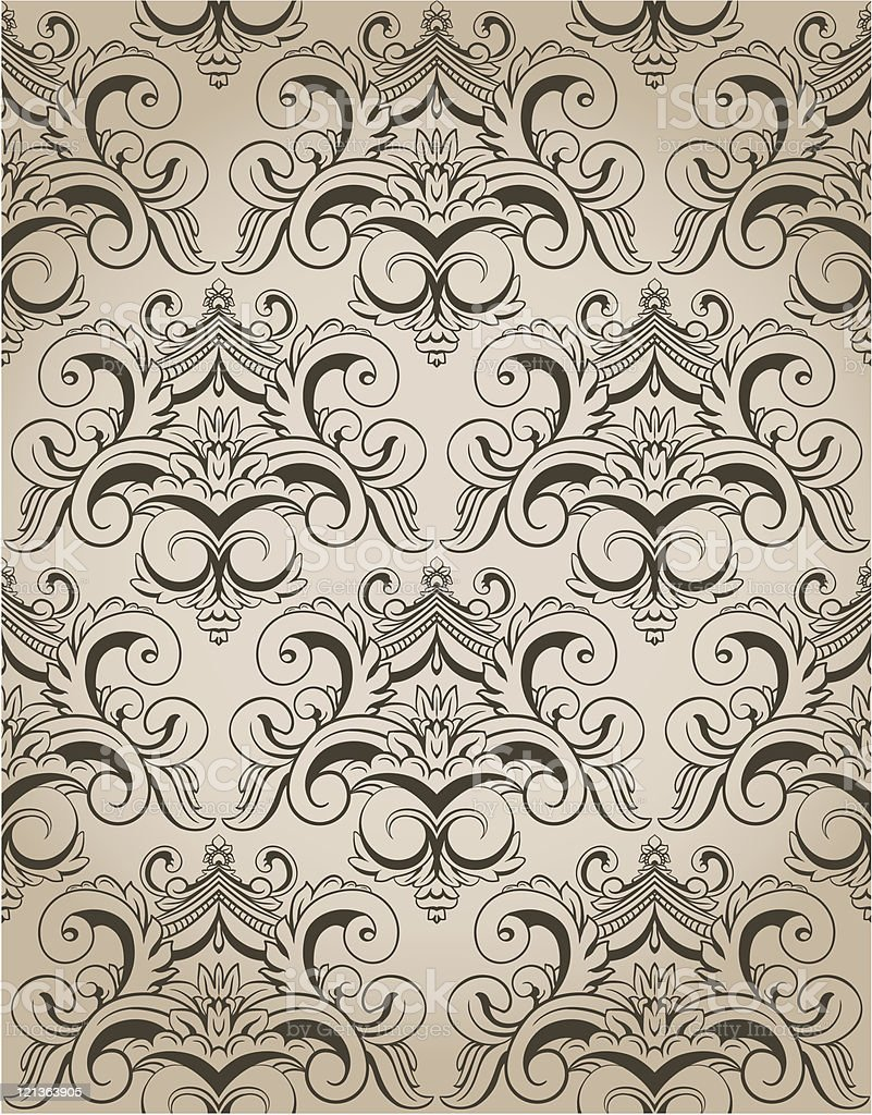 Damask seamless wallpaper royalty-free stock vector art