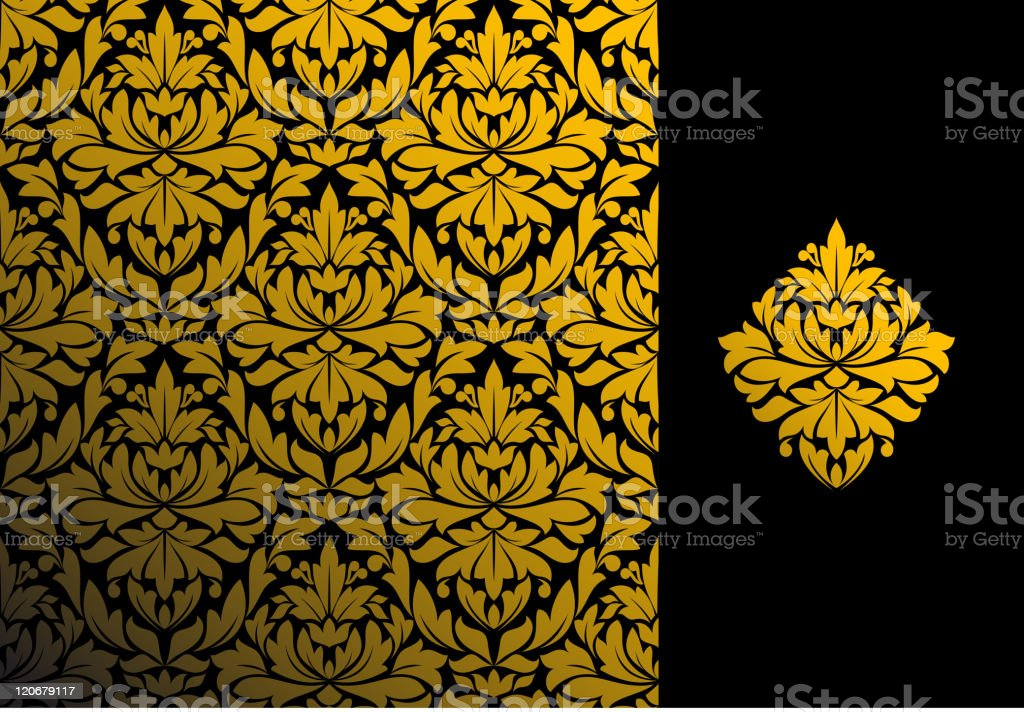 Damask seamless with pattern royalty-free stock vector art