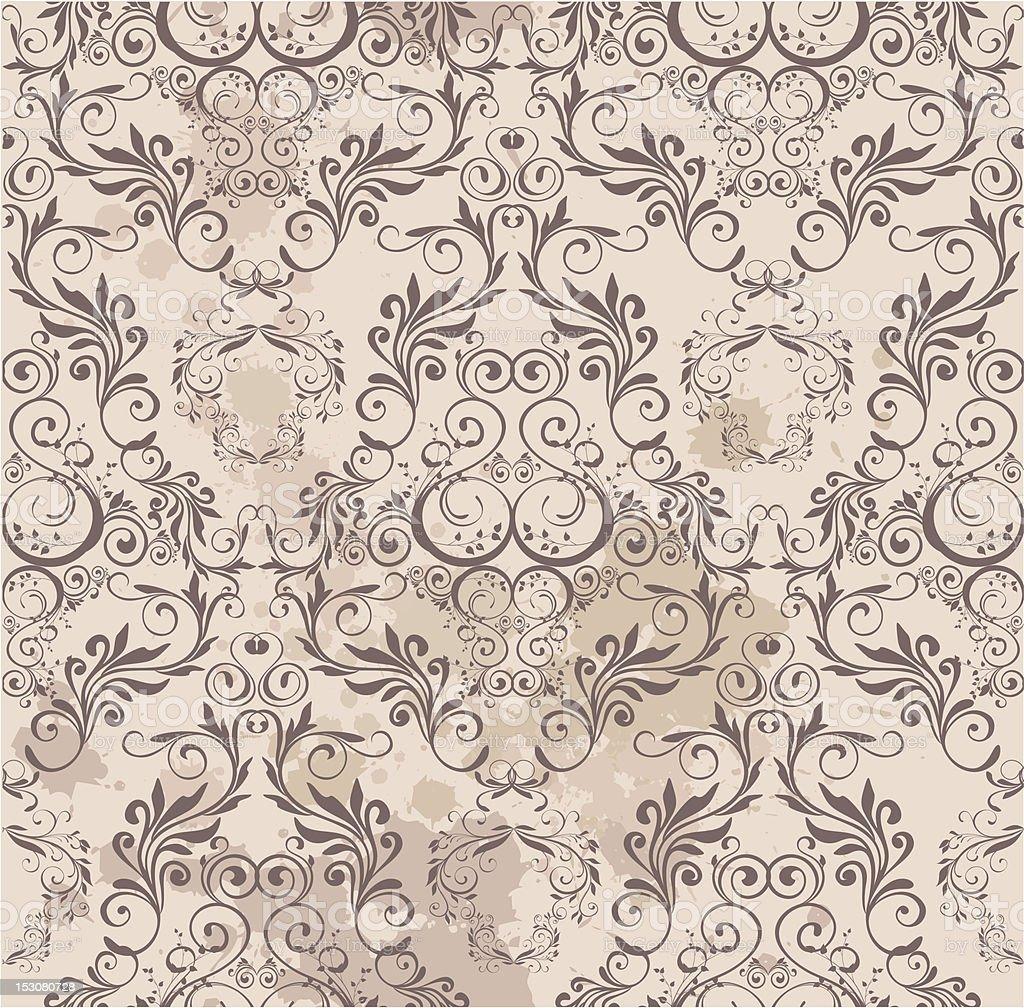 Damask wallpaper vector art illustration