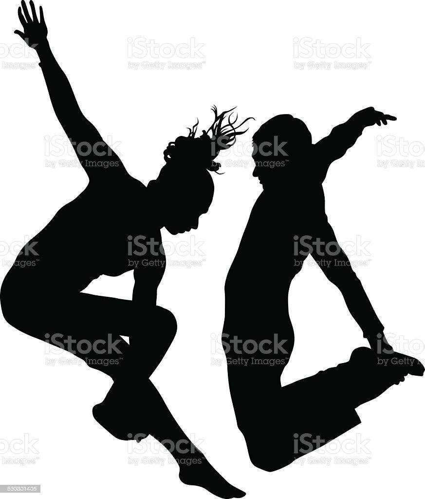 Dance couples vector art illustration