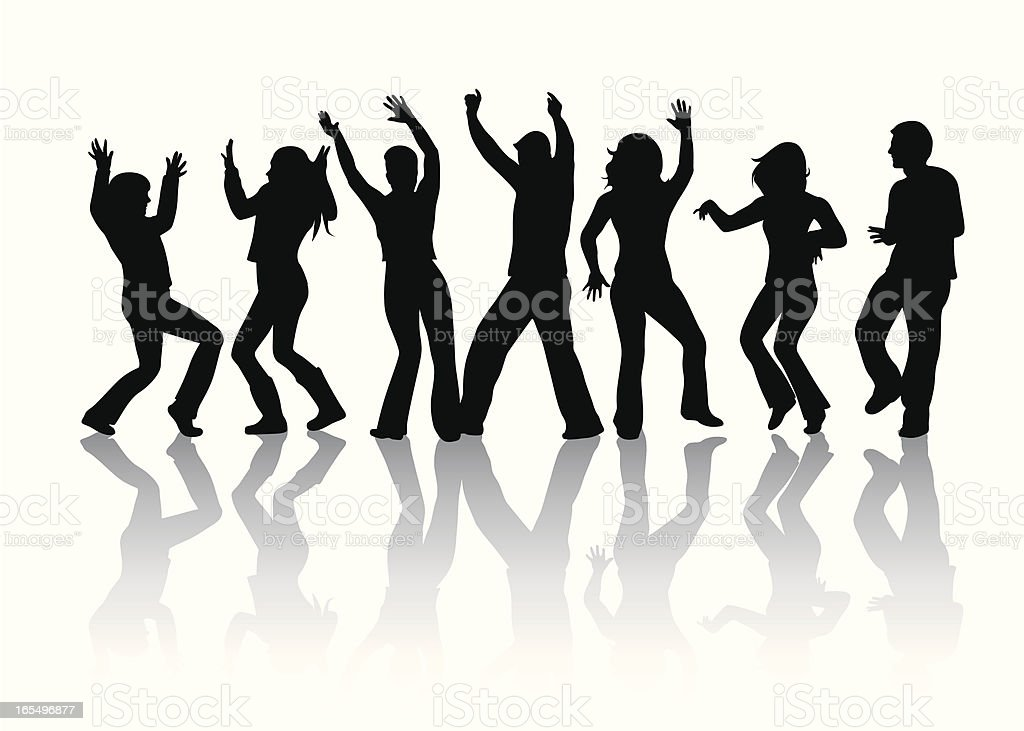 Dance Crowd Vector Silhouette royalty-free stock vector art