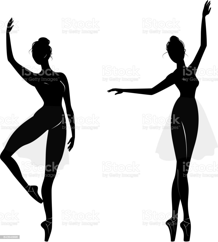 Dance girl silhouette isolated on white background. vector art illustration