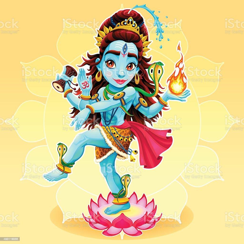Dance of Shiva vector art illustration
