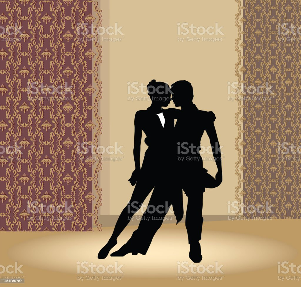 Dance pair in tango passion royalty-free stock vector art