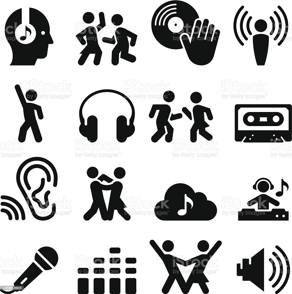 Dance Party Icons - Black Series vector art illustration
