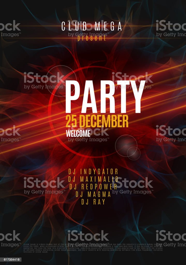 Dance Party Poster Background Template - Vector Illustration vector art illustration