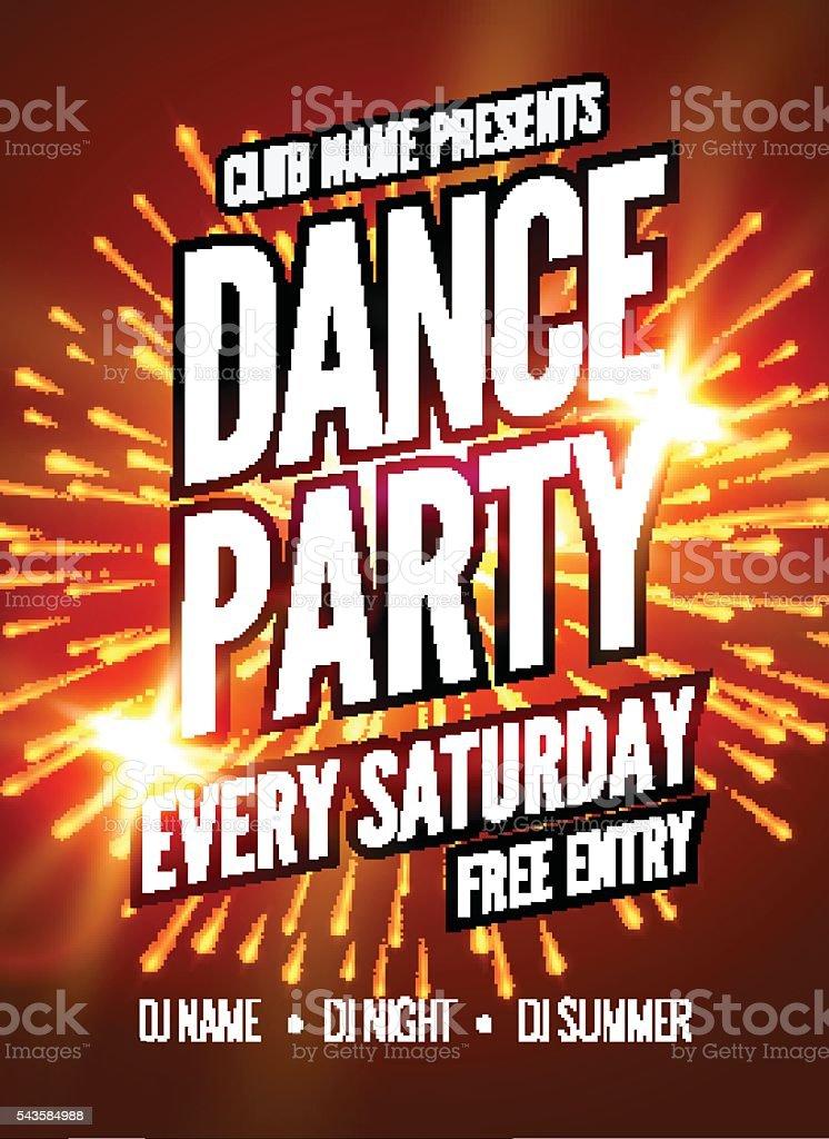 Dance Party Poster Template. Night   flyer.  Club  design  on dark vector art illustration