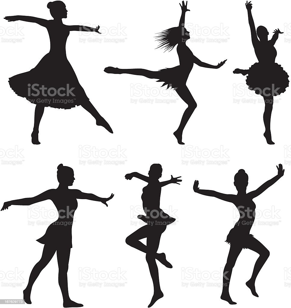dance silhouette - woman royalty-free stock vector art