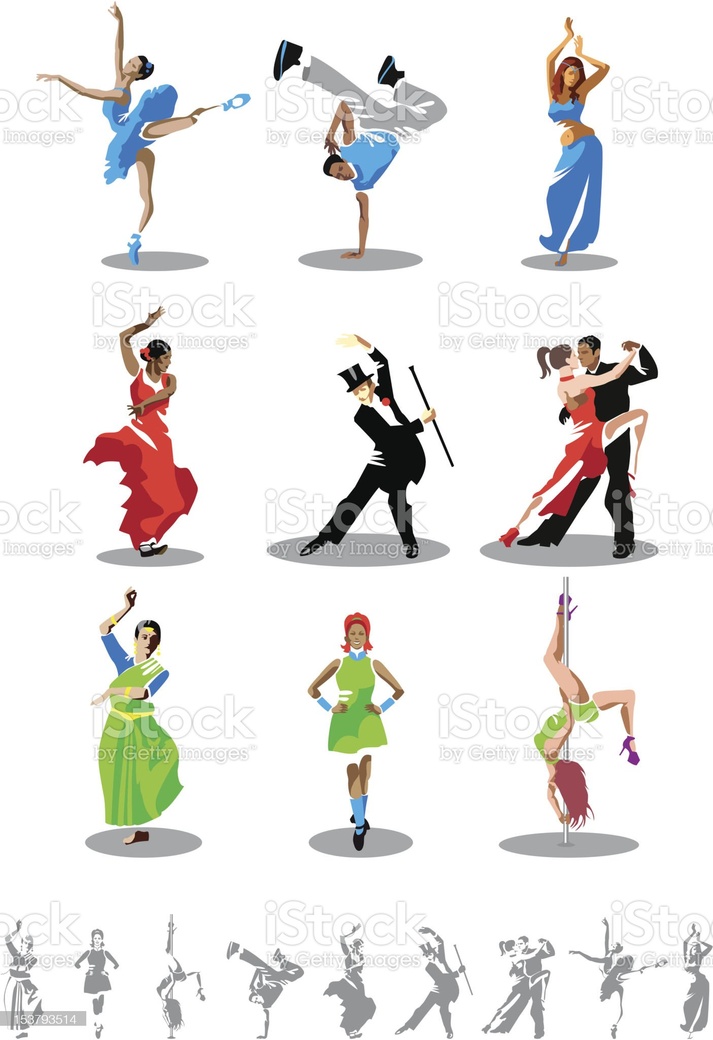 Dance types royalty-free stock vector art
