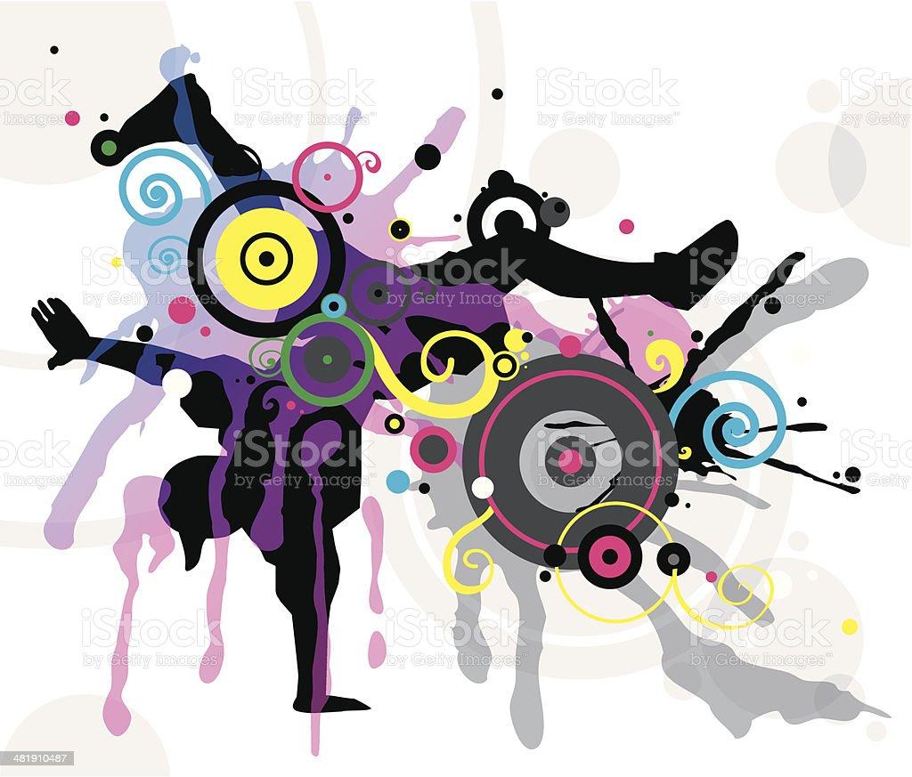 Dancer in abstract splashes vector art illustration