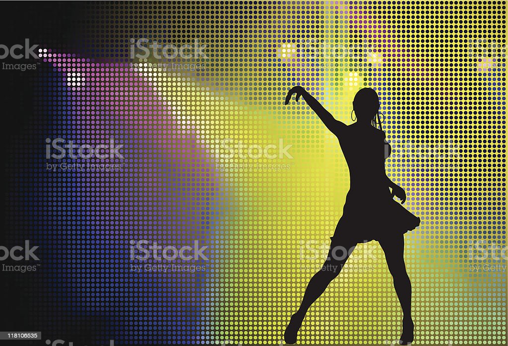 dancer in the stage of light vector art illustration