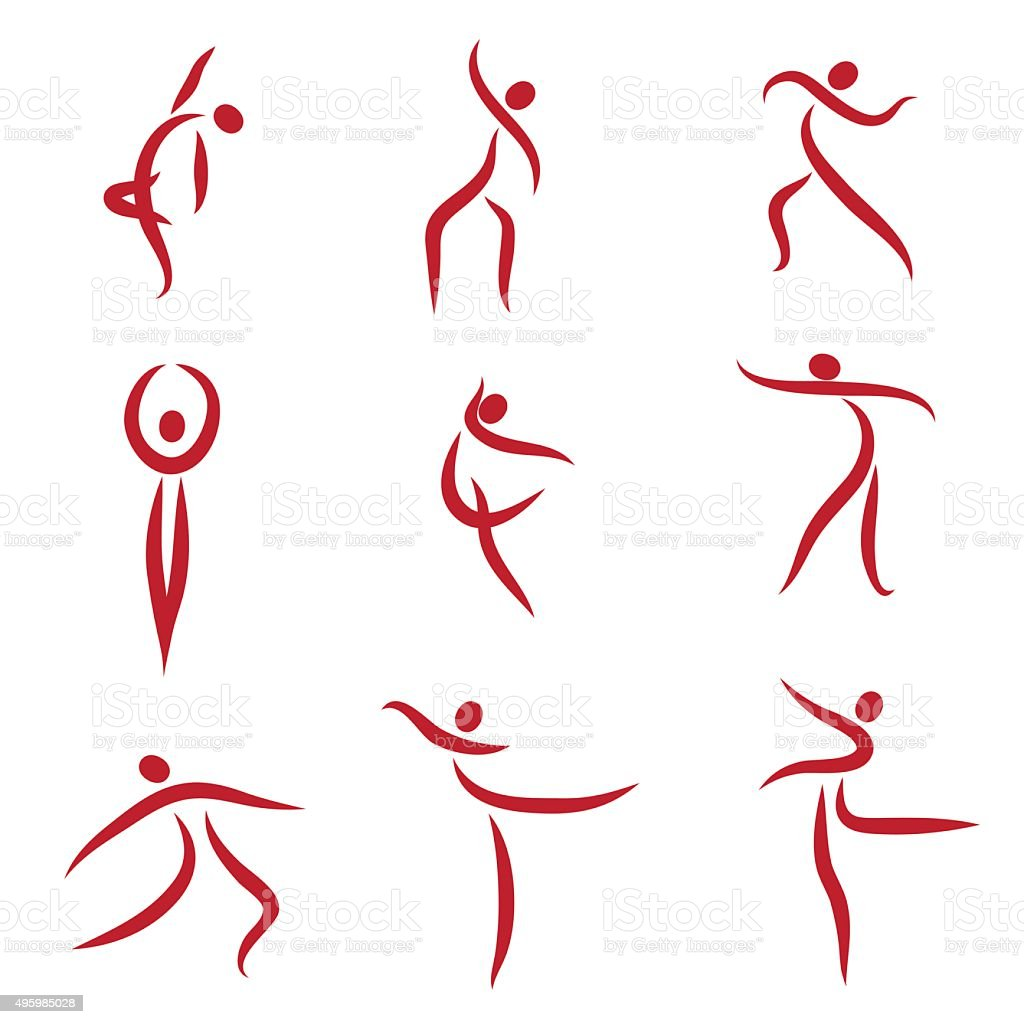 dancing abstract people symbols illustration stock vector
