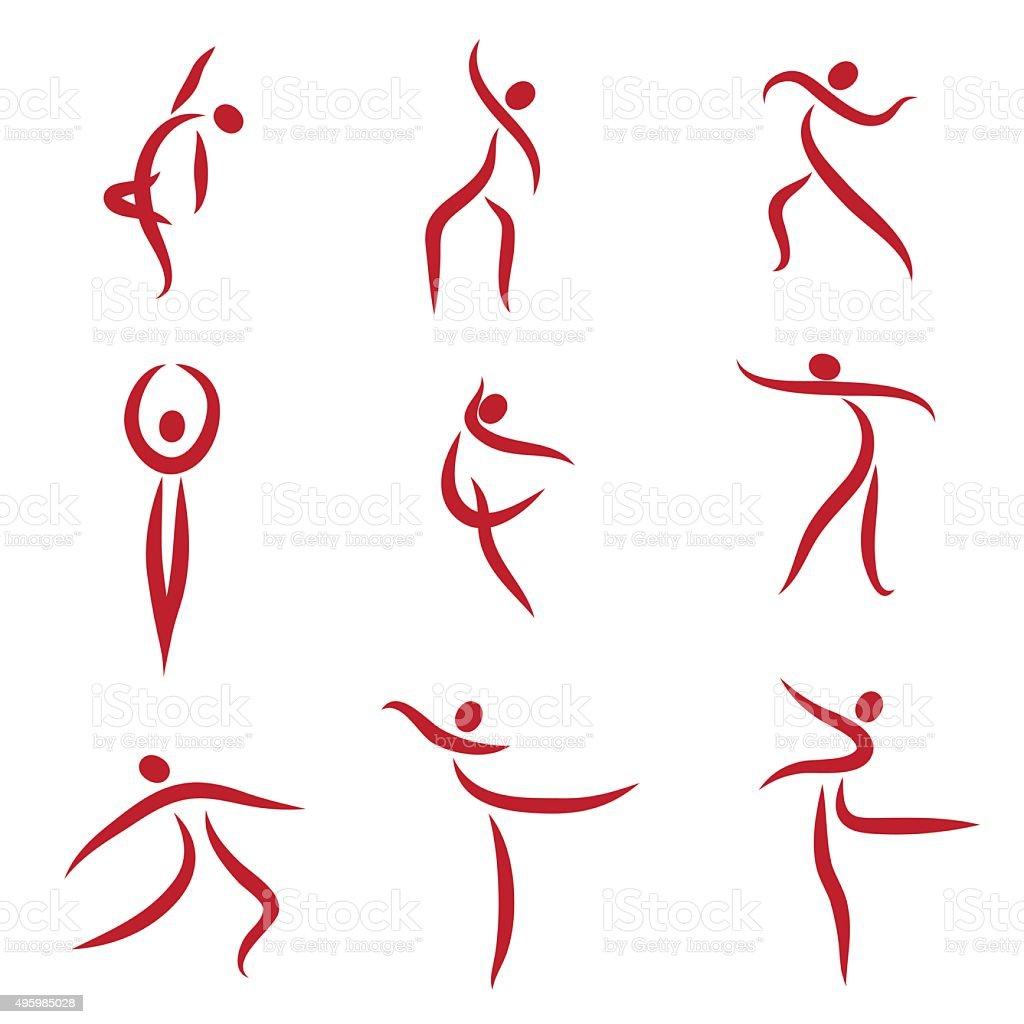 Dancing abstract people, symbols - Illustration vector art illustration