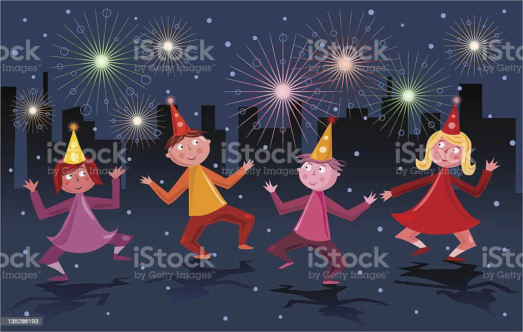 Dancing and celebrating royalty-free stock vector art