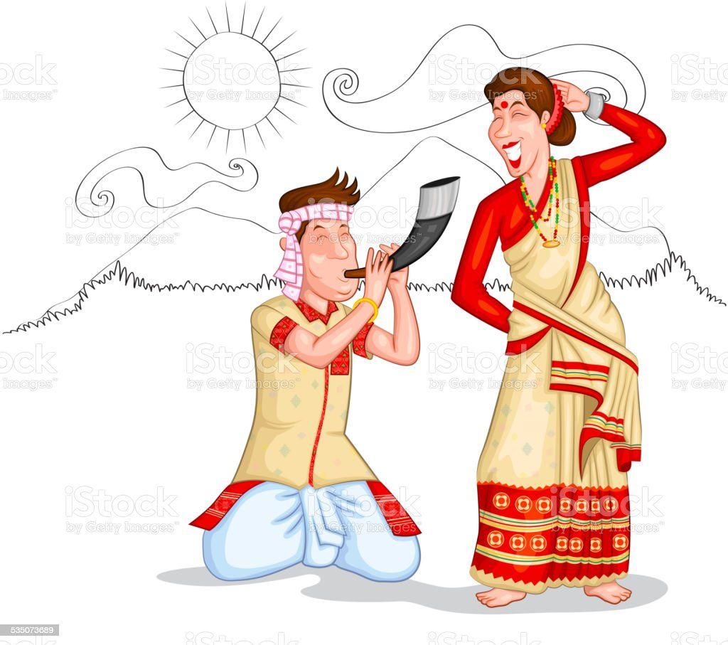 Dancing Assamese couple vector art illustration