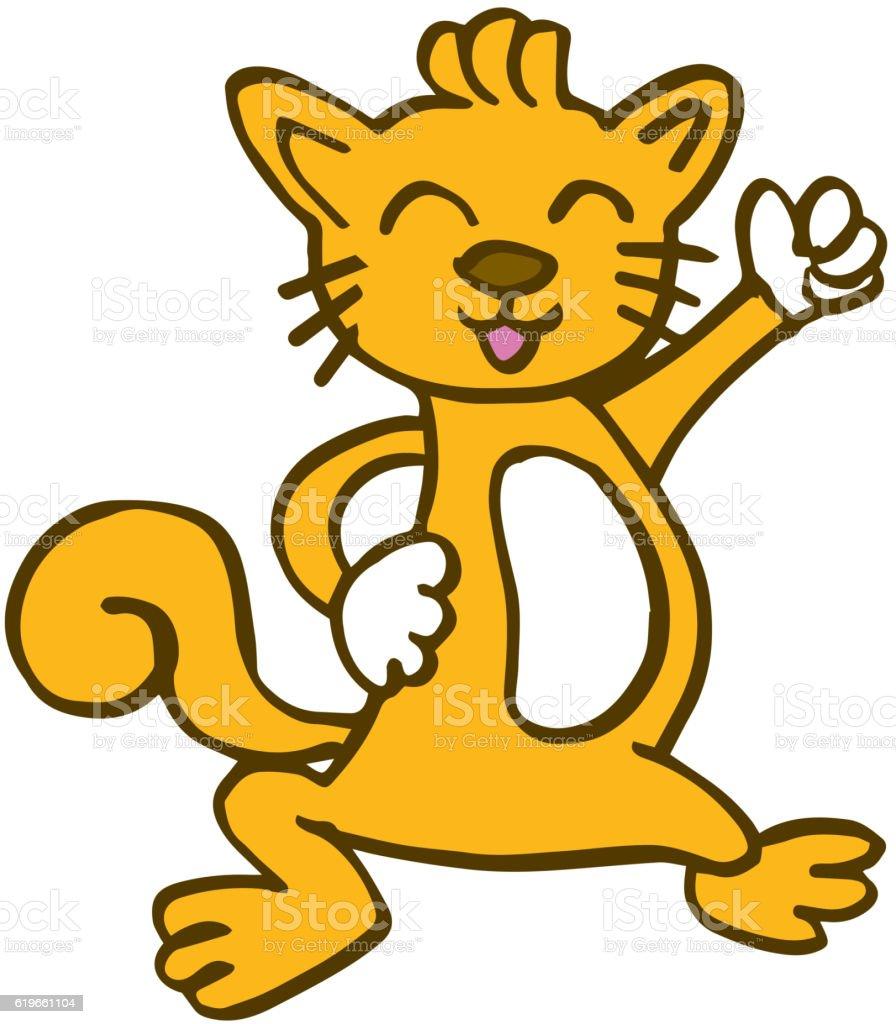 dancing cat for kids t-shirt design vector art illustration