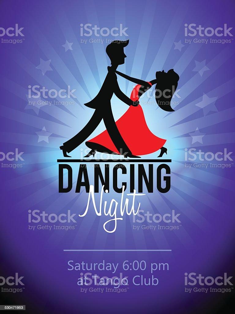 Dancing Couple. Club flyer vector art illustration